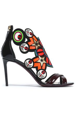 NICHOLAS KIRKWOOD Printed smooth and patent-leather sandals