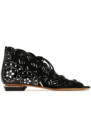 NICHOLAS KIRKWOOD Lace-up patent leather-trimmed laser-cut suede sandals