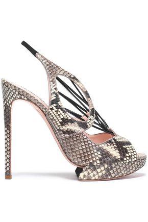 NICHOLAS KIRKWOOD Leather-trimmed python platform sandals