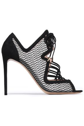 NICHOLAS KIRKWOOD Lace-up suede and mesh sandals