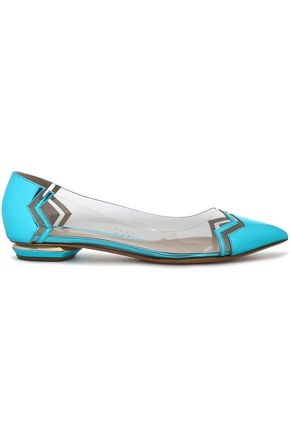 NICHOLAS KIRKWOOD PVC and metallic leather point-toe flats