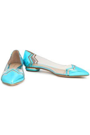 NICHOLAS KIRKWOOD PVC and metallic leather point-toe flats