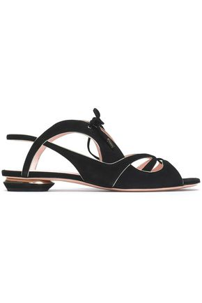 NICHOLAS KIRKWOOD Metallic leather-trimmed suede sandals