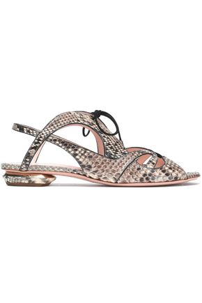 NICHOLAS KIRKWOOD Suede-trimmed python sandals