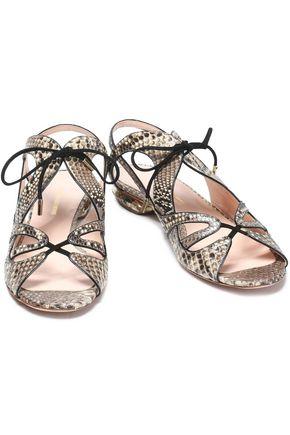 Nicholas Kirkwood Woman Suede-trimmed Python Sandals Off-white Size 38 Nicholas Kirkwood 1iZx0t14ni