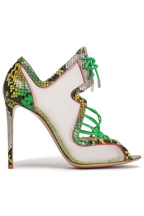 NICHOLAS KIRKWOOD Lace-up suede-trimmed python and mesh sandals