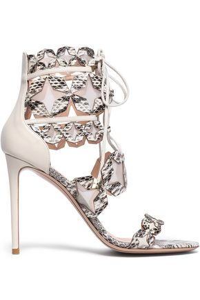 NICHOLAS KIRKWOOD Lace-up elaphe, leather and mesh sandals