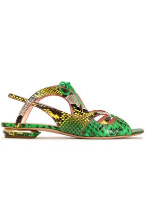 NICHOLAS KIRKWOOD Lace-up suede-trimmed python sandals