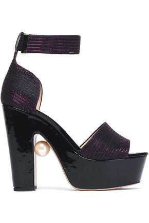 NICHOLAS KIRKWOOD Embellished metallic knitted platform sandals