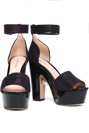 c136abb79991 Nicholas Kirkwood Woman Embellished Metallic Knitted Platform Sandals  Violet Size 40 Nicholas Kirkwood
