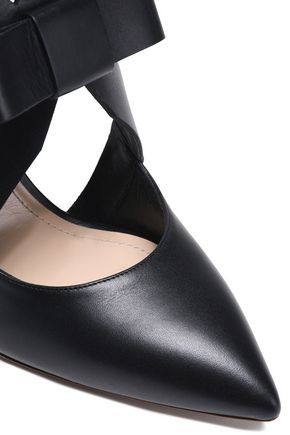 NICHOLAS KIRKWOOD Bow-embellished cutout leather pumps