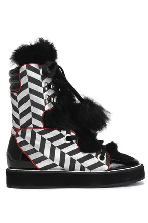 NICHOLAS KIRKWOOD Patent-leather and faux fur-trimmed lamé snow boots