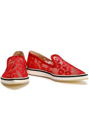 NICHOLAS KIRKWOOD Suede-trimmed lace slip-on loafers