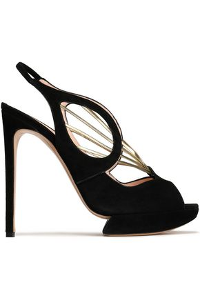 NICHOLAS KIRKWOOD Metallic leather-trimmed suede platform sandals
