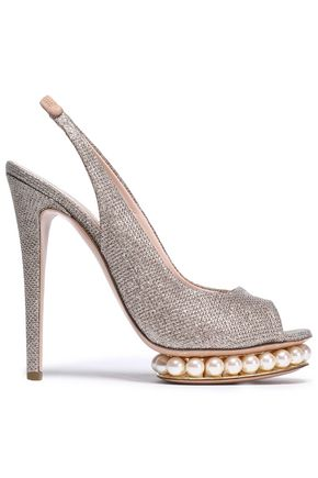 NICHOLAS KIRKWOOD Embellished metallic woven platform slingback sandals