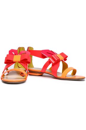 NICHOLAS KIRKWOOD Bow-embellished neon smooth and patent-leather sandals