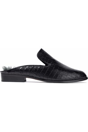 ROBERT CLERGERIE Shearling-lined croc-effect leather slippers