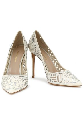 NICHOLAS KIRKWOOD Laser-cut and metallic leather pumps