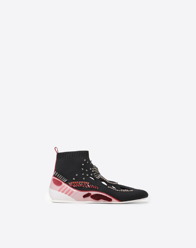 Embroidered high-top sneaker with cut-out detail