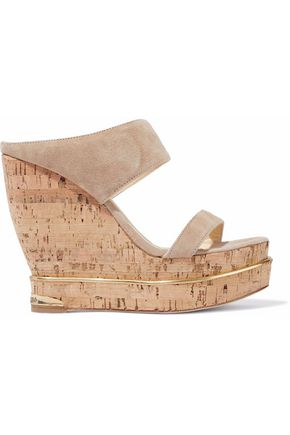 WOMAN SUEDE AND CORK WEDGE MULES BEIGE
