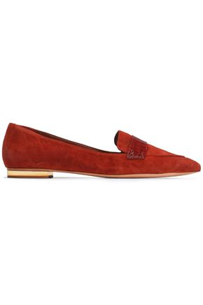 SCHUTZ Croc-effect leather-trimmed suede loafers