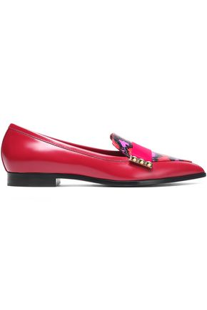 NICHOLAS KIRKWOOD Studded leopard-print elaphe, smooth and patent-leather loafers