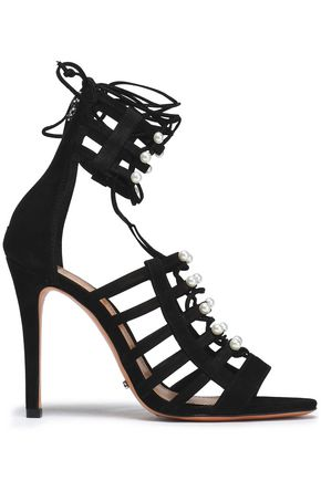 SCHUTZ Lace-up faux pearl-embellished suede sandals