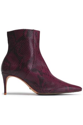 SCHUTZ Snake-effect leather ankle boots