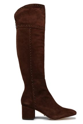 SCHUTZ Studded suede over-the-knee boots