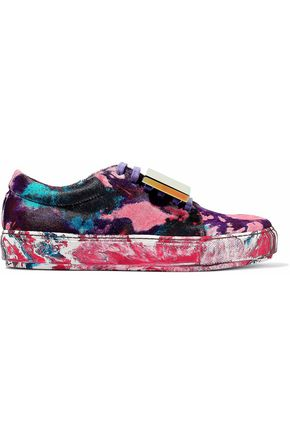 ACNE STUDIOS Appliquéd painted calf hair sneakers