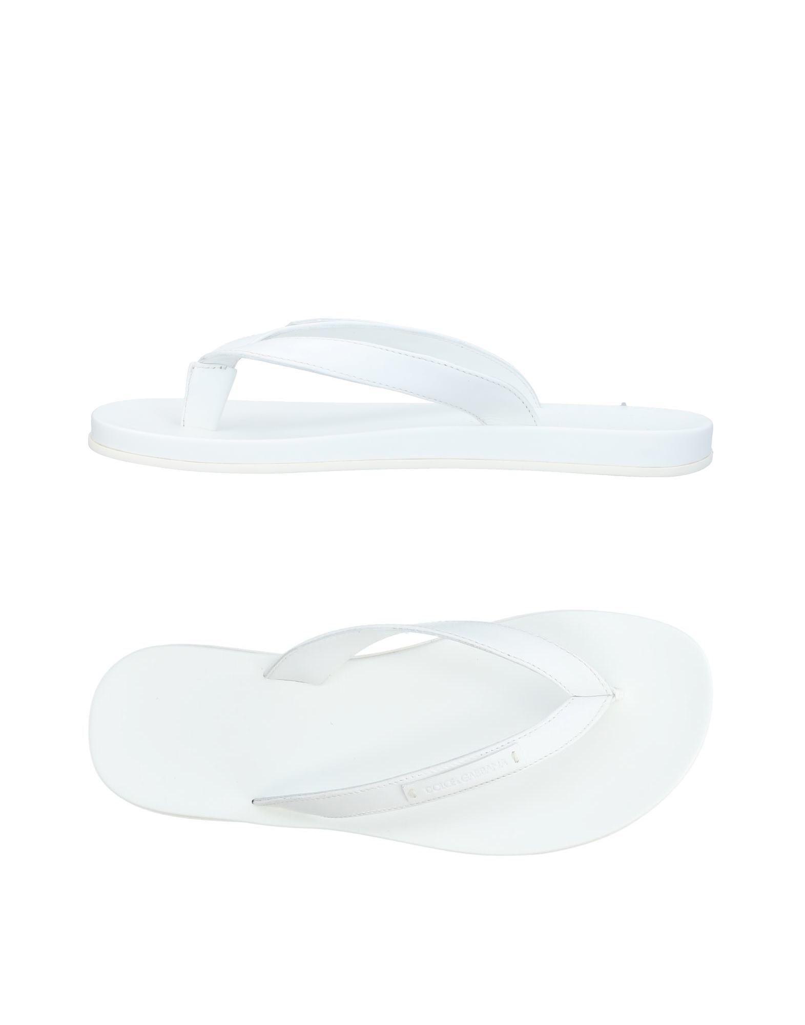 《セール開催中》DOLCE & GABBANA メンズ トングサンダル ホワイト 5 革