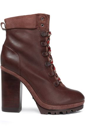 SCHUTZ Lace-up suede-trimmed ankle boots