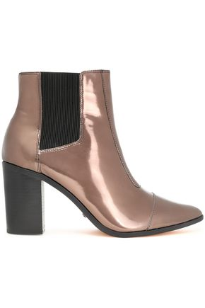 SCHUTZ Mirrored-leather ankle boots