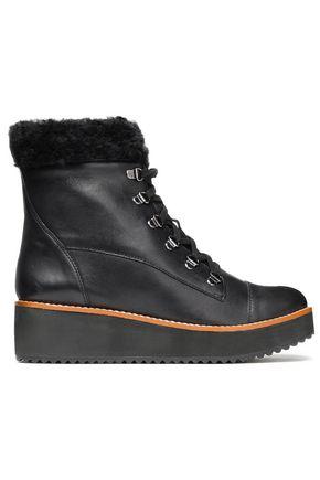 SCHUTZ Shearling-trimmed platform ankle boots