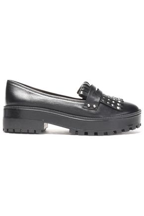SCHUTZ Studded fringed leather platform loafers