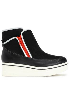 STELLA McCARTNEY Color-block faux suede and leather wedge sneakers