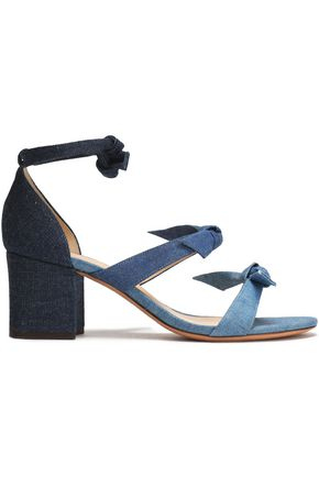 Bow Embellished Color Block Denim Sandals by Alexandre Birman
