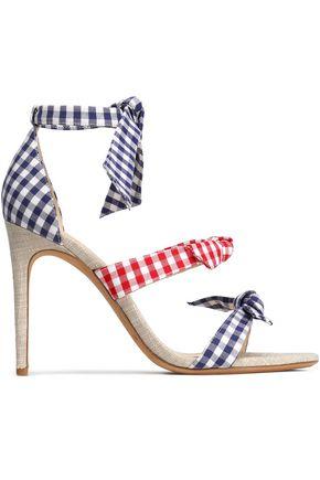 ALEXANDRE BIRMAN Bow-embellished suede-trimmed metallic woven sandals