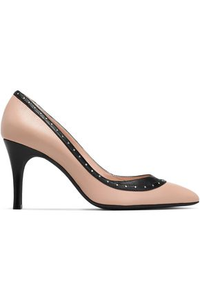 LANVIN Studded two-tone leather pumps