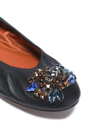 LANVIN Crystal-embellished leather ballet flats