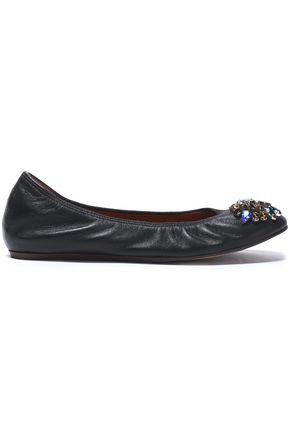 LANVIN Crystal-embellished leather ballet flats