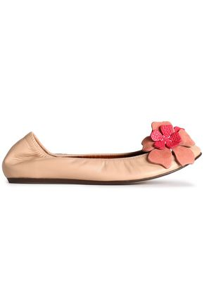 LANVIN Floral-appliquéd leather ballet flats