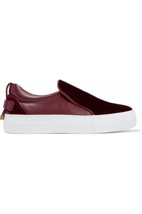 BUSCEMI Velvet-paneled leather slip-on sneakers