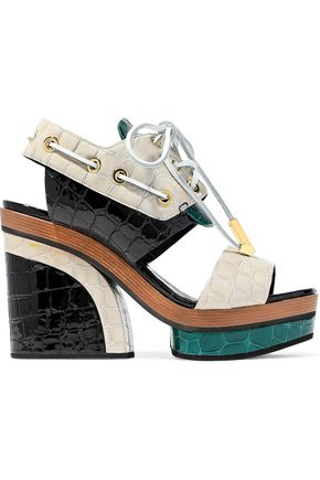 PIERRE HARDY Deer color-block croc-effect patent-leather platform sandals