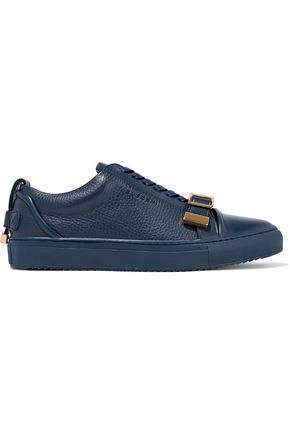 BUSCEMI Buckled smooth and pebbled-leather sneakers