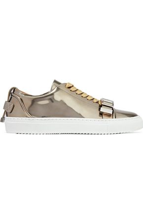 BUSCEMI Buckled mirrored-leather sneakers