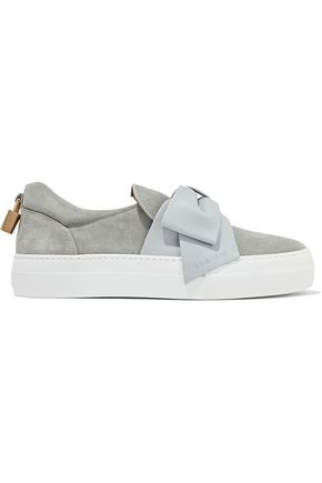 BUSCEMI Bow-embellished  leather-trimmed suede slip-on sneakers
