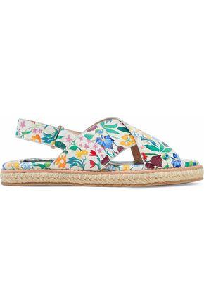 ALICE + OLIVIA Chelsea floral-print leather espadrille sandals