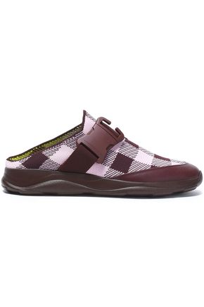 CHRISTOPHER KANE Leather-trimmed checked woven slip-on sneakers