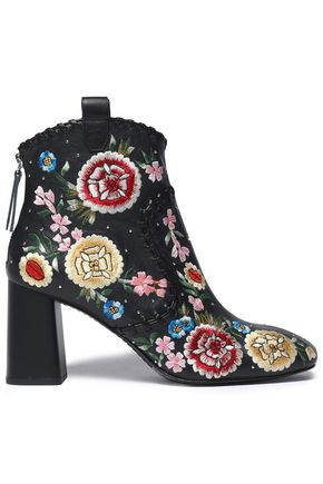 ALICE + OLIVIA Myra whipstitched embroidered leather ankle boots